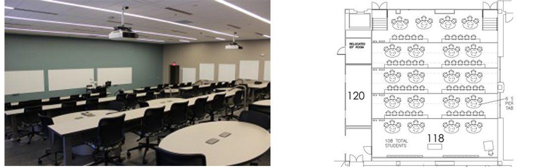 Indiana University classroom and floorplan