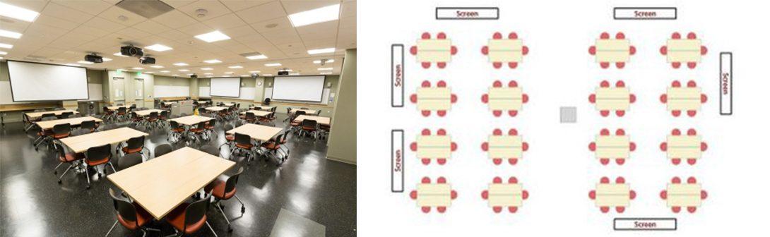 Stanford University classroom and floorplan