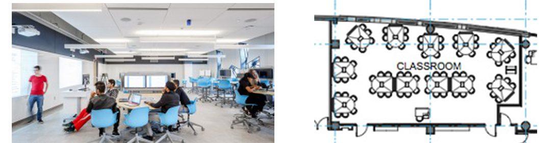 York University classroom and floorplan